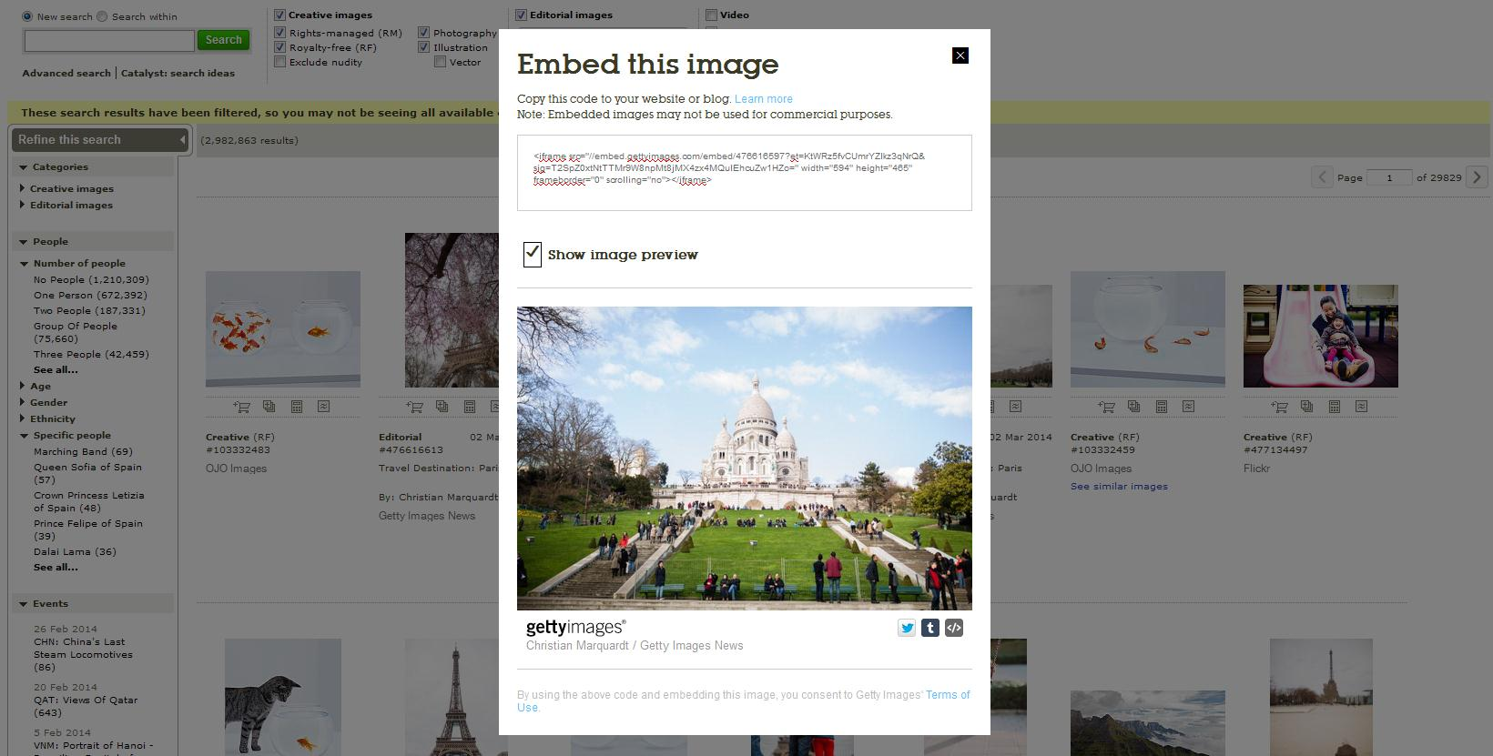 Getty images embedded viewer