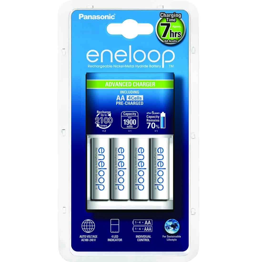 Punjač Eneloop advanced sa 4 AA Eneloop standardne baterije