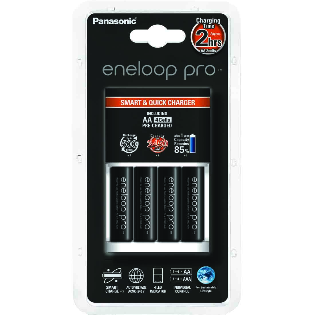 Punjač Eneloop smart sa 4 AA Eneloop pro baterije